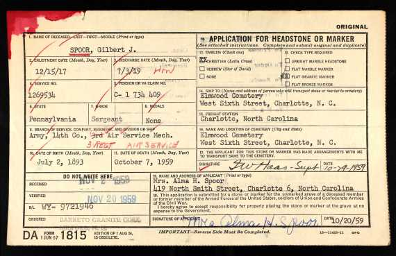 U.S.HeadstoneApplicationsforMilitaryVeterans1925-1963ForGilbertJSpoor