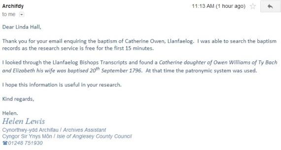 Catherine owen birth