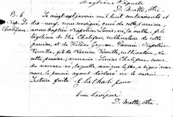 Napoleon baptism