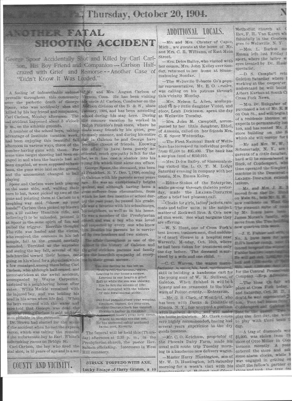 Paper's notice of George Spoor's death (1)