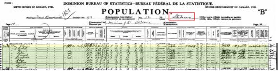 Olivier 1921 census