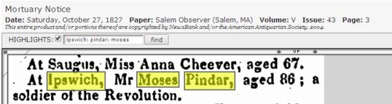 Moses Pindar Death