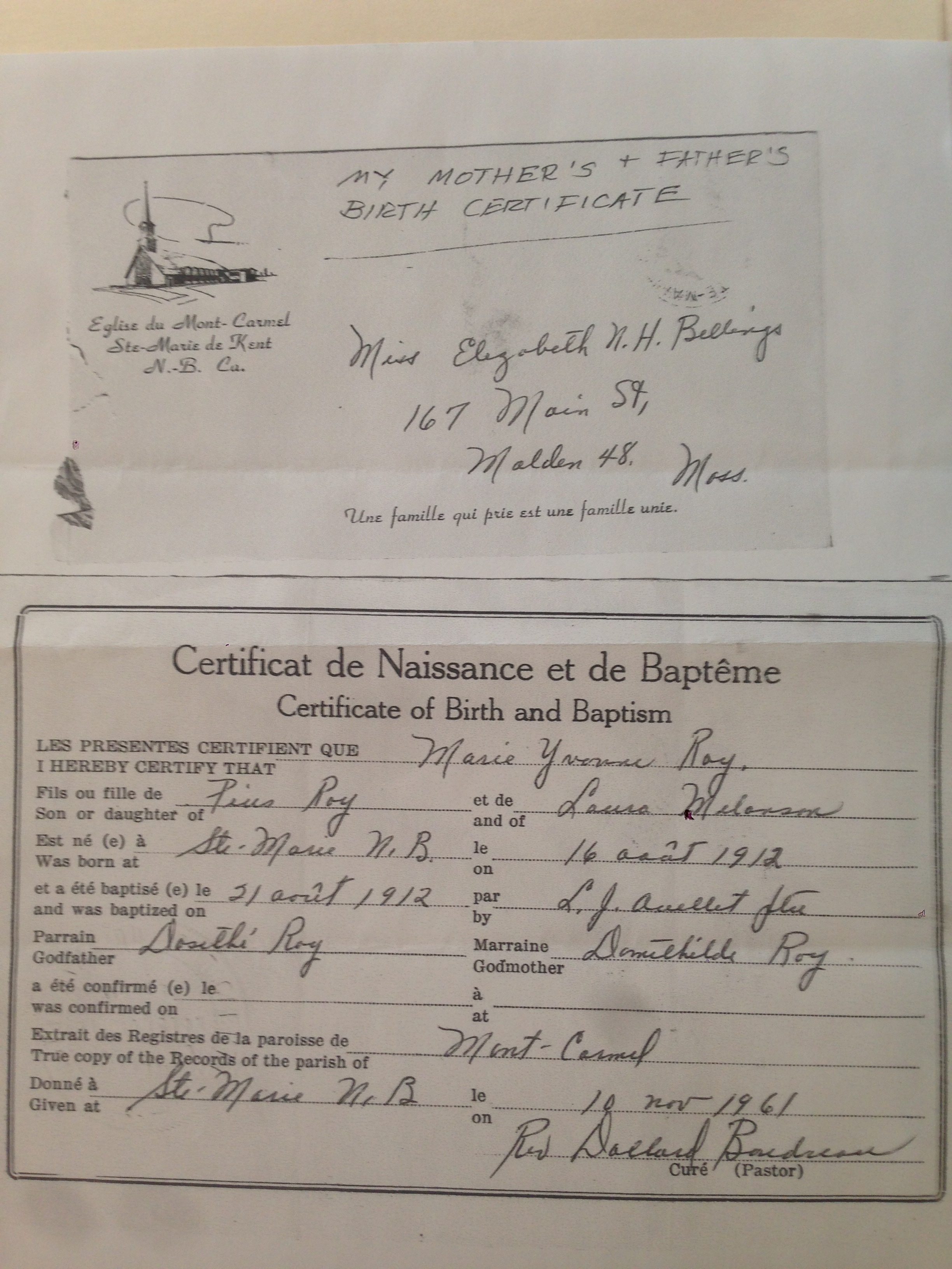 My acadian 30 week 1 marie yvonne yvonne roy passage to ste marie de kent new brunswick canada she was baptized at eslise du mont carmel four days later her godparents were dosithe roy her grandfather aiddatafo Images