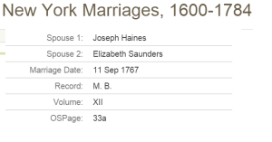 haines Saunders marriage