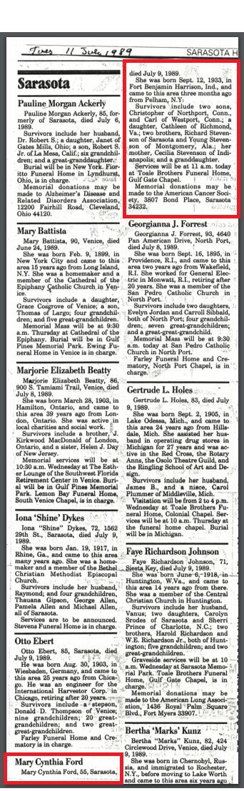 Cynthia Obituary